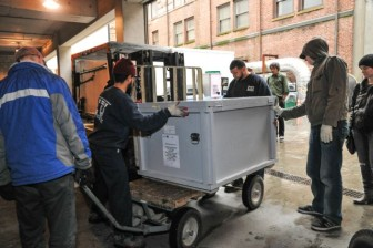 The crated body of Lonesome George arrives in New York City