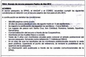 Condiciones Para El Acuerdo Sobre Pepinos De Mar.