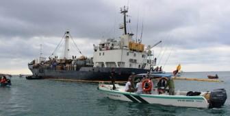 The ship Floreana aground off San Cristóbal Island