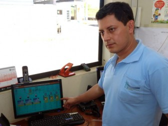 Engineer Cristian Fernández monitors wind turbine output