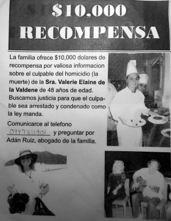 Poster circulated by de la Valdene family offering $10,000 reward for information.